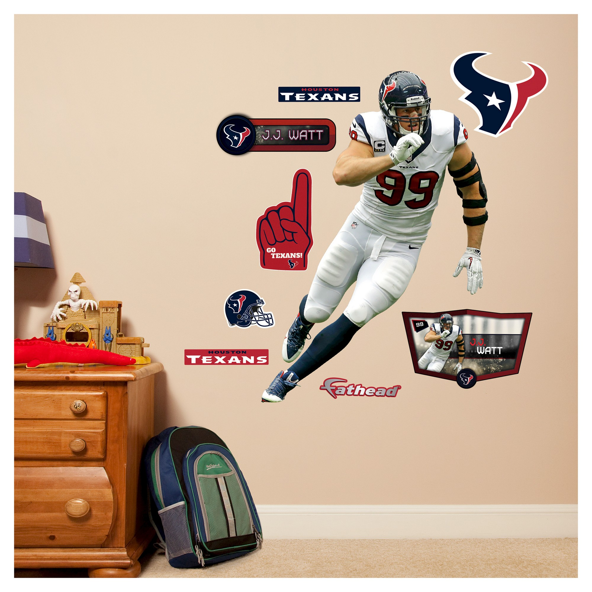 Nfl Houston Texans J Watt Fathead Wall Decal Set