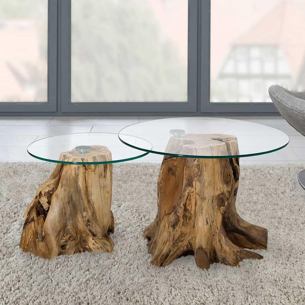 Sofatisch Set mit runden Glasplatten Baumstumpf (2-teilig) Jetzt ...
