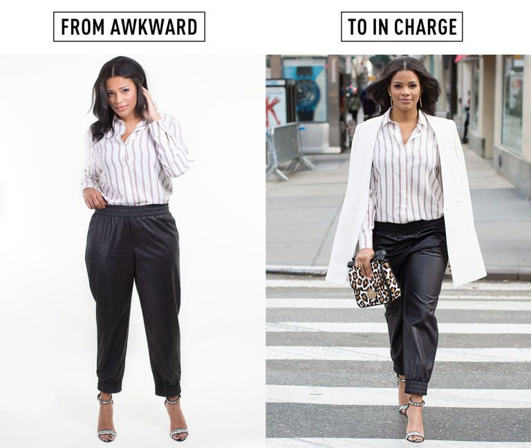 how to wear joggers with heels