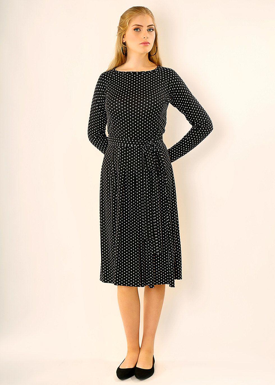 Black Midi Dressmid Length Dresslong Sleevesboatneck Etsy Black Midi Dress Dress Quest Modest Midi Dress [ 1370 x 980 Pixel ]