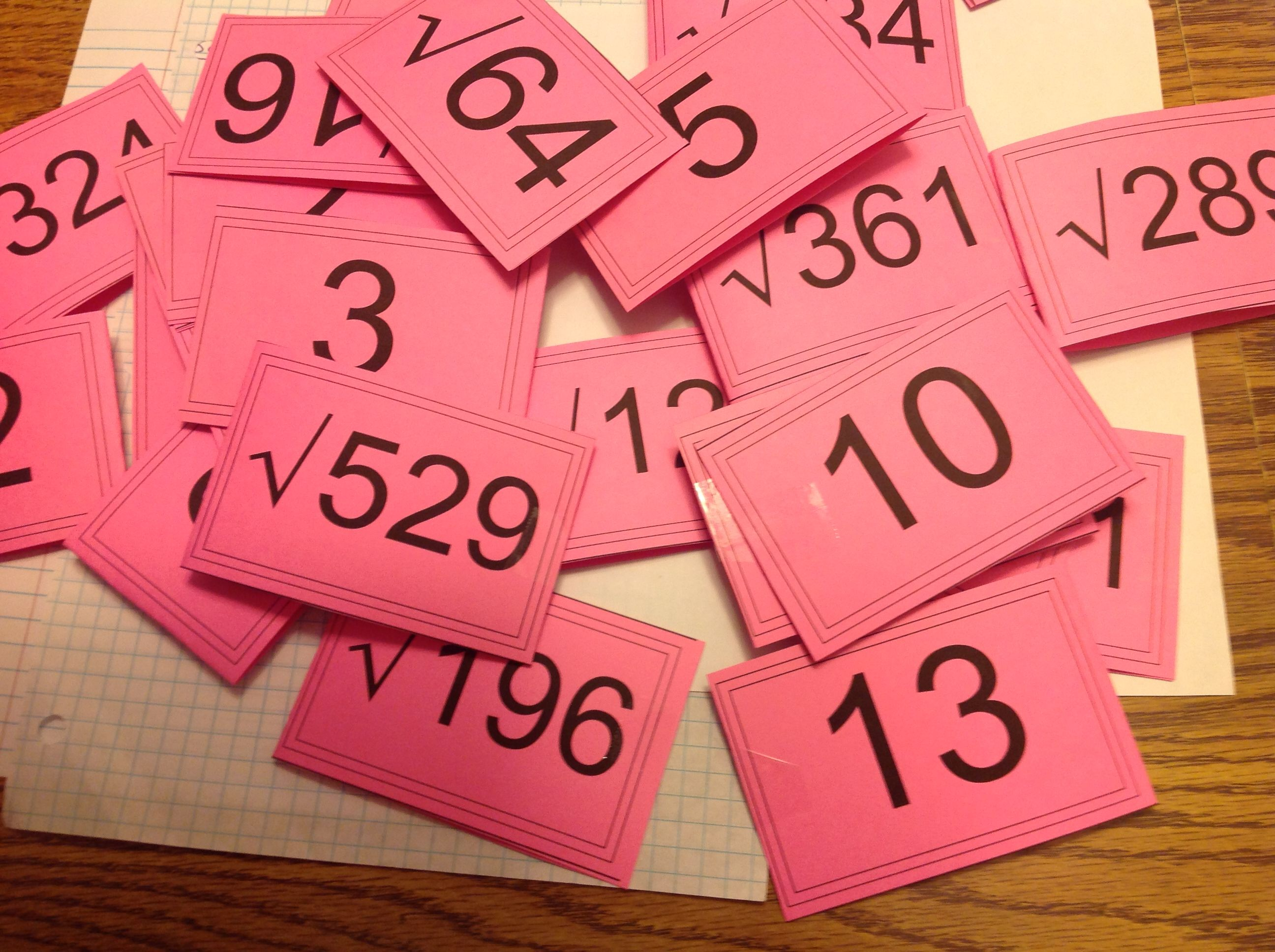 Perfect Square And Square Root Flash Cards