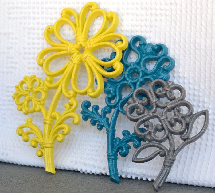 Teal Yellow Grey/Gray Wall Flowers Upcycled Painted Wall Decor ...