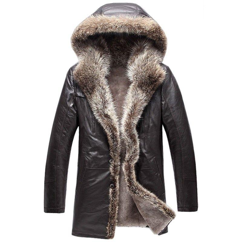 Classic Hooded Shearling Coats For Men Cw877159 Mens Fur Coat