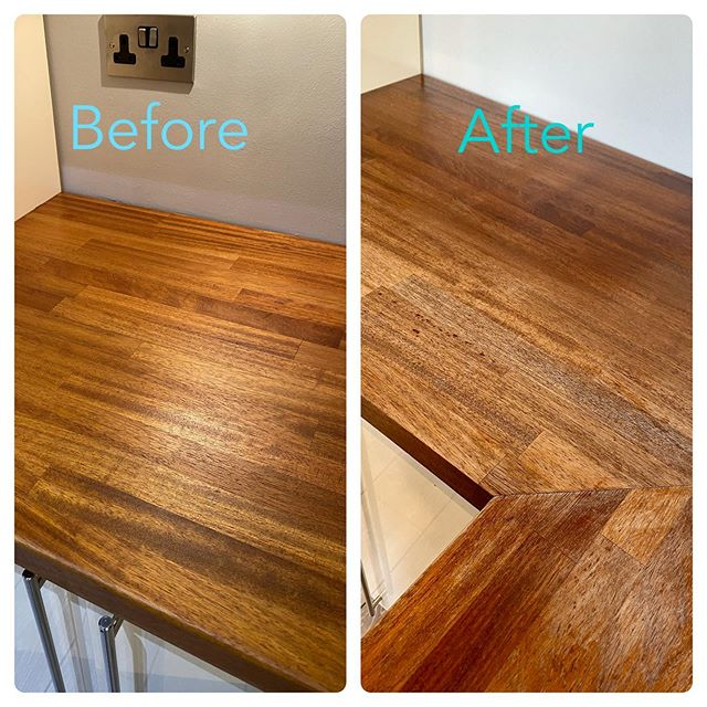 Wow What A Tough Day This Kitchen Need A Massive Overhaul The Wood Is Iroko Which Is Beautiful But It Didn T Look Beautiful Bef Wood Wax Full Renovation Wood