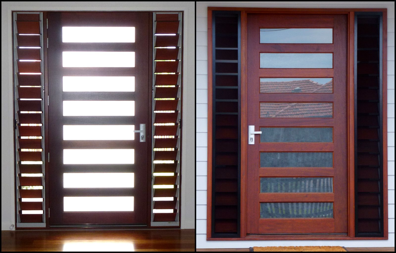 Front Door With Louvres On At Least One Side For Air Flow Through Crimsafe Screen Or Equivalent Timber Front Door Louvre Windows Front Door