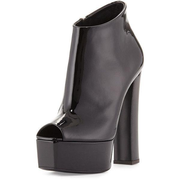 Giuseppe Zanotti Lavinia Peep-Toe Platform Bootie (€720) ❤ liked on Polyvore featuring shoes, boots, ankle booties, giuseppe zanotti, heels, обувь, black metallic, black high heel booties, high heel booties and heeled booties