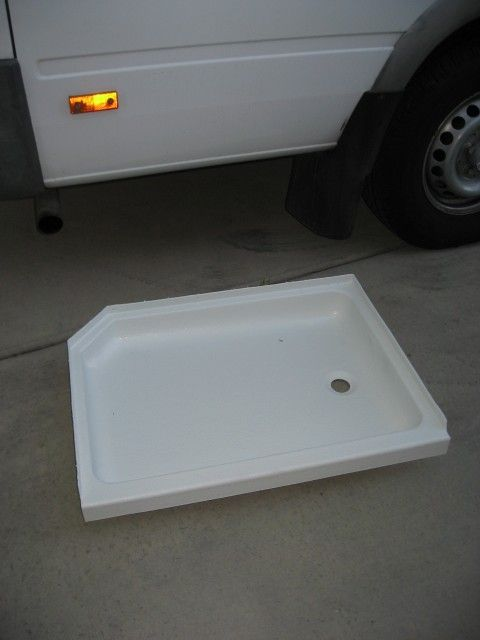 Rv Remodel Refurbished Shower Pan This Guy Had The Original Pan Coated With Linex For A Fraction Of The Cost Of Replacin Rv Remodel Shower Pan Shower Remodel