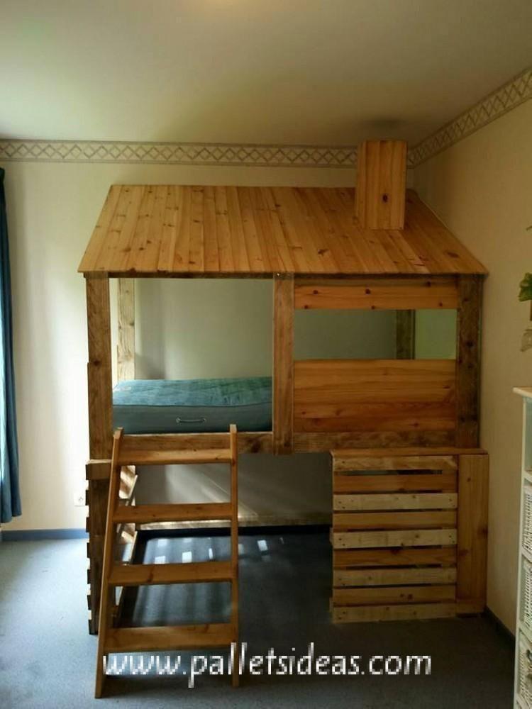 Diy Wooden Pallets Log Cabin Bed Jpg 750 1000 Cabin Beds For Kids Diy Cabin Bed Kid Beds