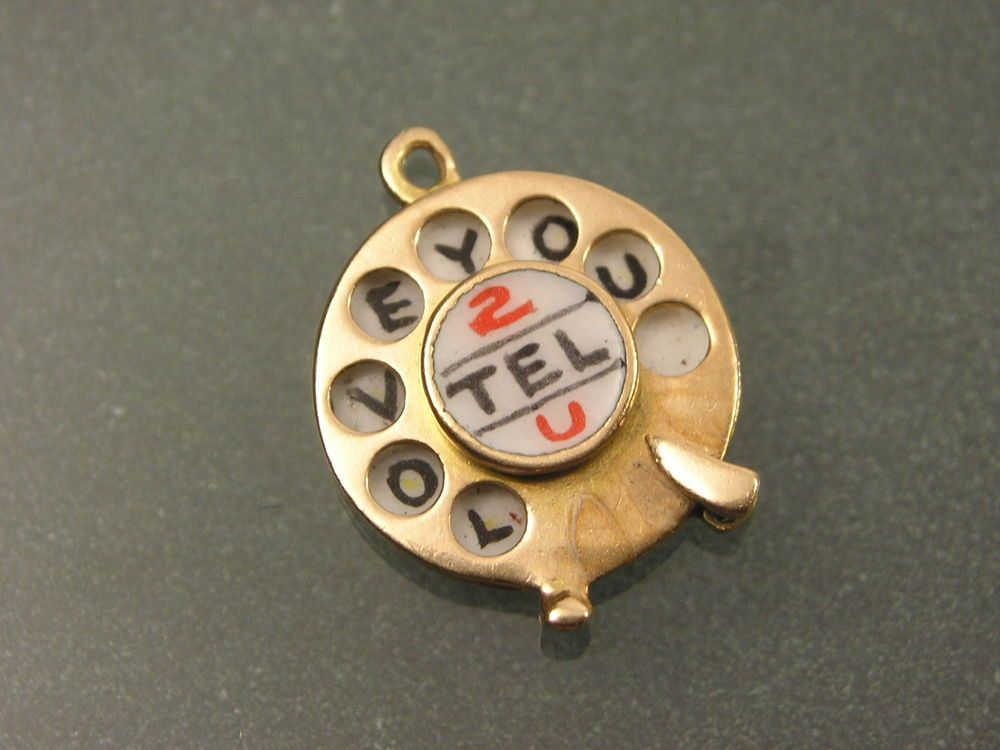 VINTAGE HALLMARKED 9CT GOLD ENAMEL CHARM - TELEPHONE DIAL - I LOVE YOU
