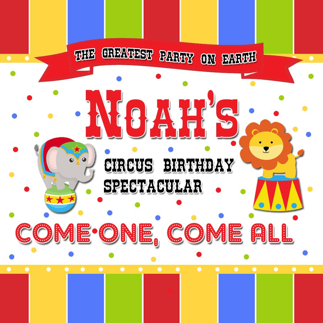 Circus Theme Birthday tags available at www.partyexpressinvitations ...
