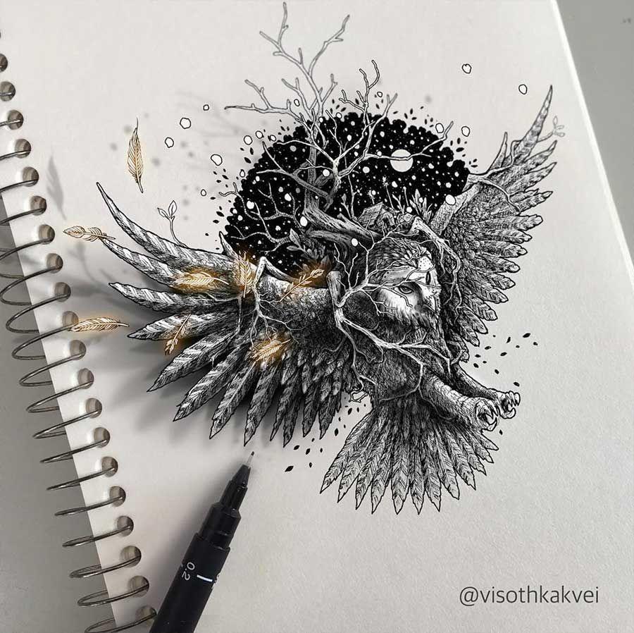 Zeichnungen visoth kakvei 3d skizzenbuch art pinterest zeichnungen malerei und gem lde - Vorlagen malerei ...