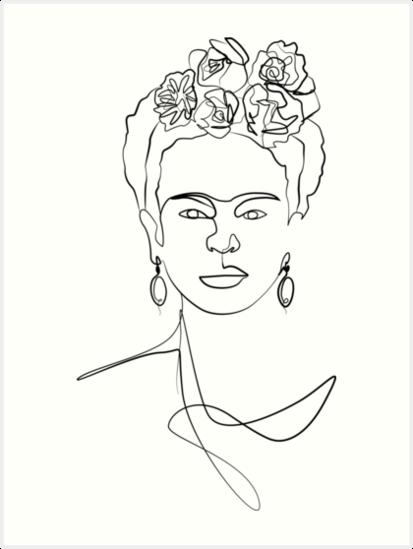 Frida Kahlo Famosa Obra De Arte Cara En Blanco De Frida Kahlo Arte Lineal Minimalista Apto Para Ropa Y Frida Kahlo Dibujo Produccion Artistica Dibujo Lineal