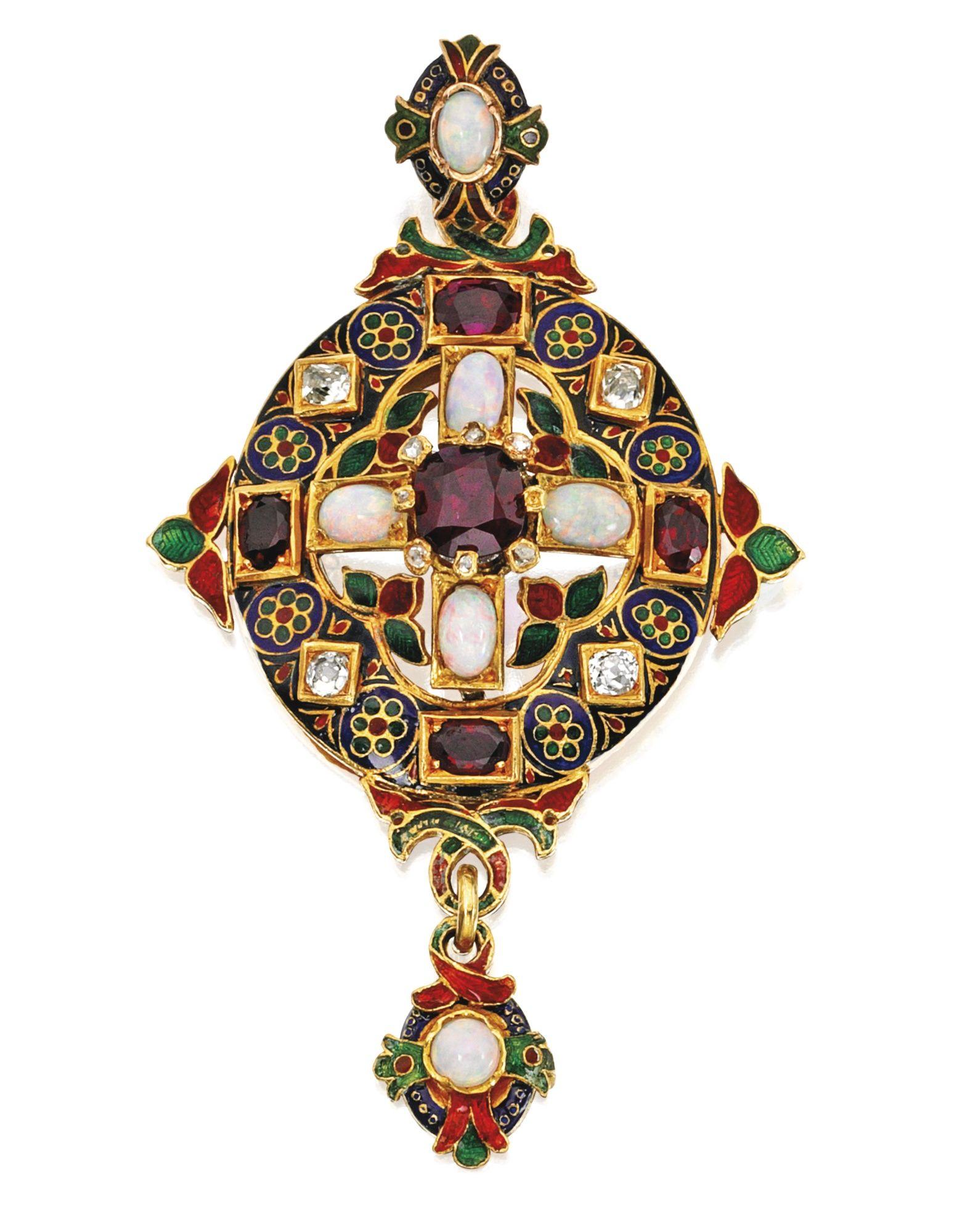Gold ruby opal diamond and enamel pendant circa the