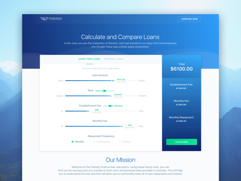 Loan Calculator Web Service  Dashboard    Loan Calculator