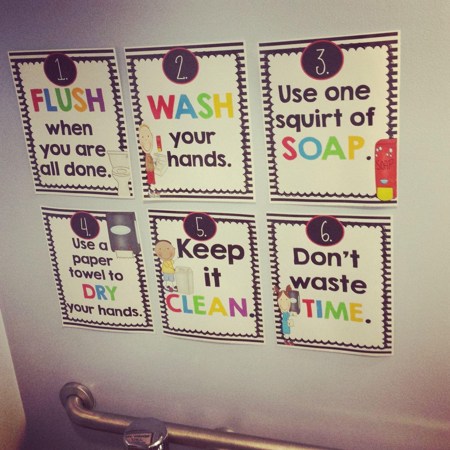 Bathroom reminder posters bathroom rules kindergarten for Bathroom signs for classroom