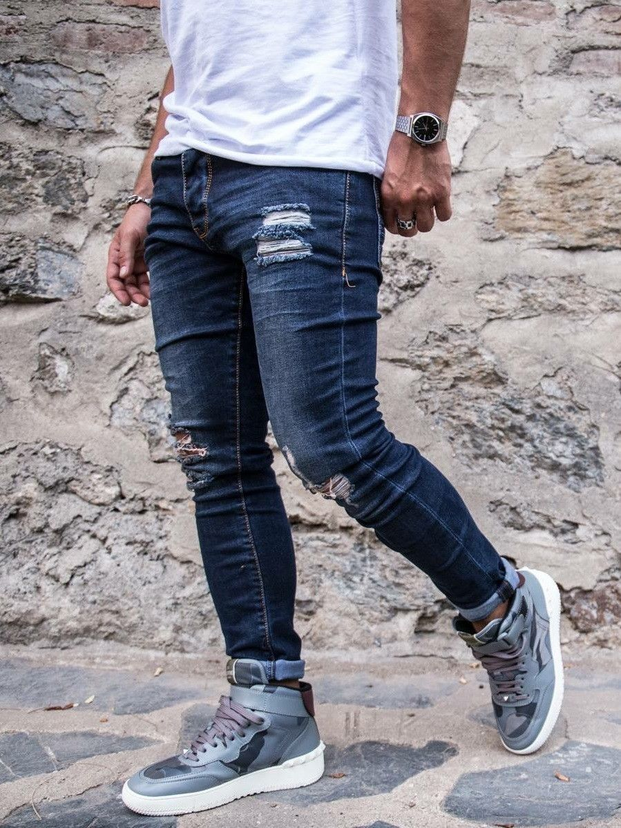 2Y Men Slim Fit Pock Ripped Destroyed Jeans - Dark Blue
