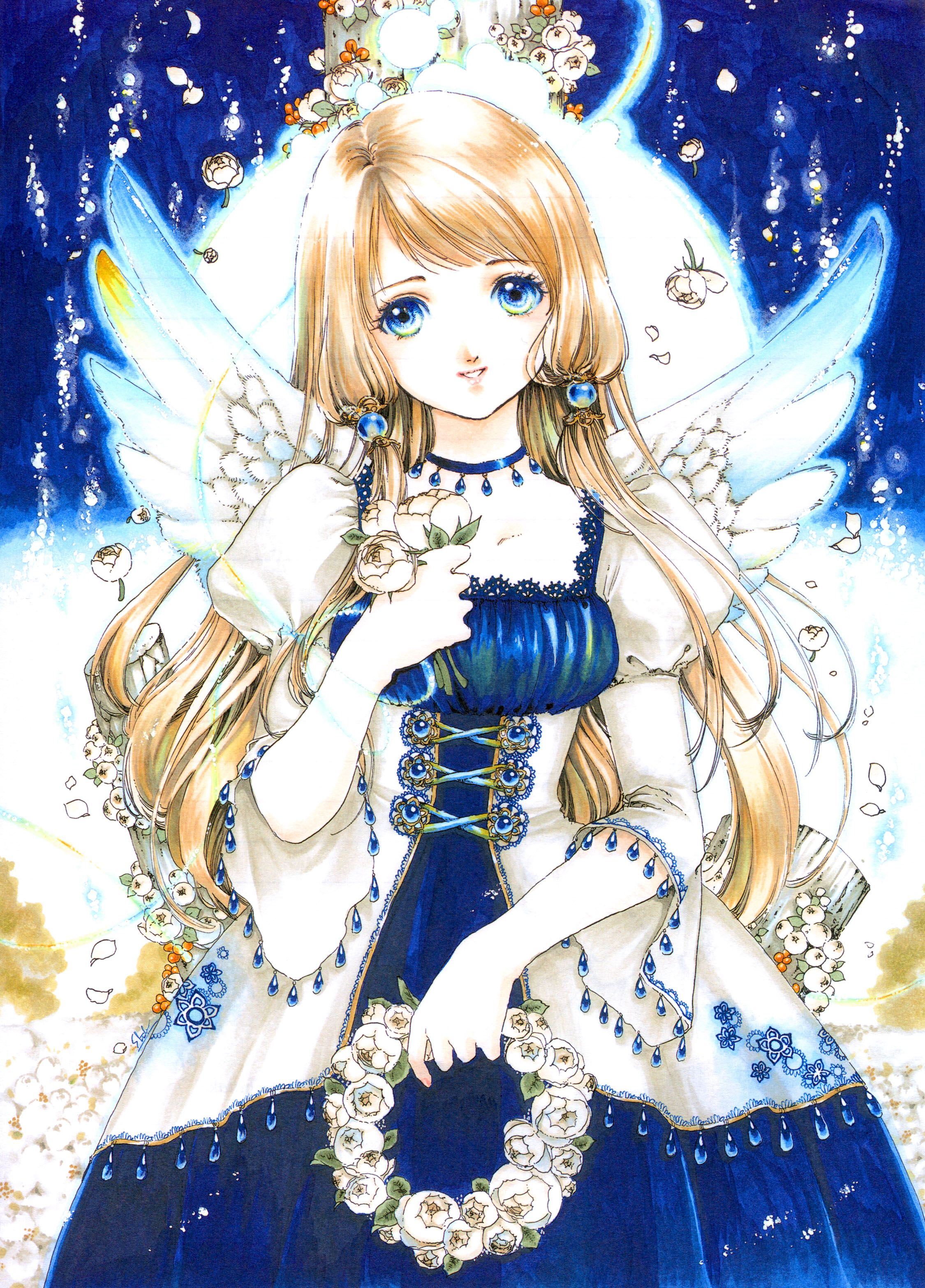 Moon angel with long blond hair blue eyes iridescent wings white corset dress by manga artist shiitake