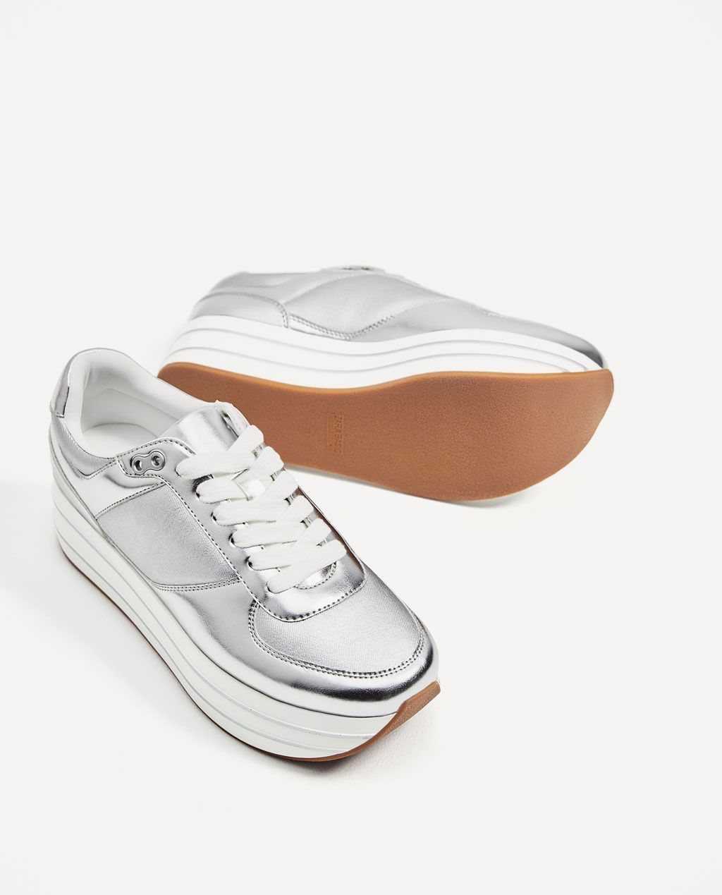 92212ce3ad Image 1 of SILVER PLATFORM SNEAKERS from Zara | ace-1 | Tennis shoes ...