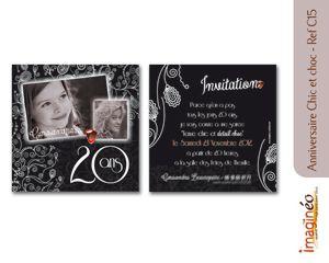 Jeune anniversaire chic et choc, anniversaire 20 ans, carton invitation DZ-48