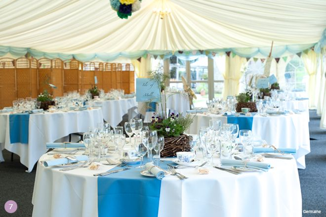 Blue Wedding Theme Ideas White Linens W Blue Runners And A