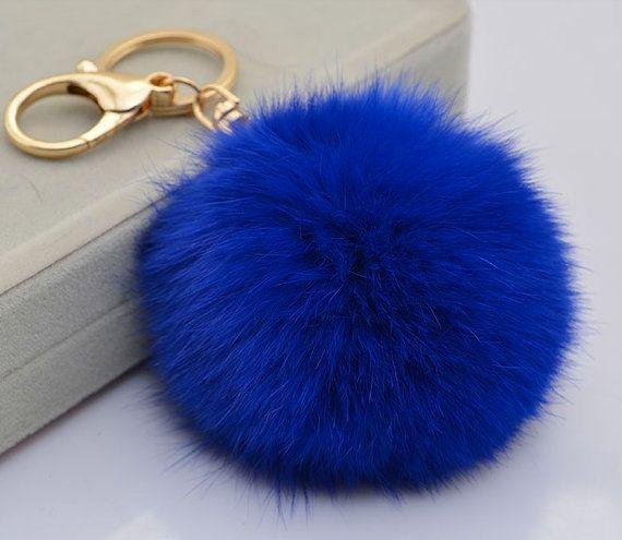 Genuine Rabbit Fur Pom Pom Ball Plush Keychain For By Yogastudio55