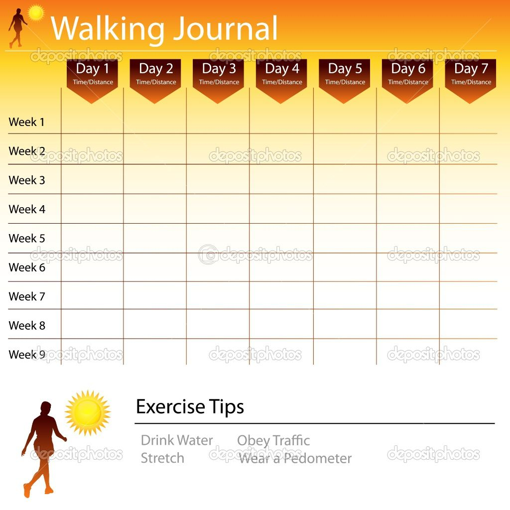 Free printable walking log chart journal stock vector john takai also rh pinterest