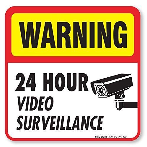 5-Pack 24 Hour Video Surveillance Chalk Corner Window Cling CGSignLab 36x12