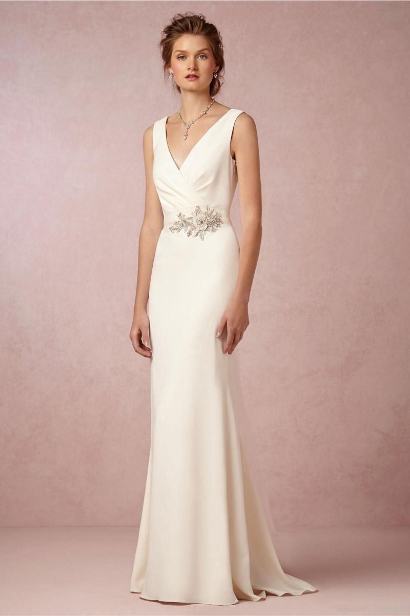 Ivory 2015 Simple Beach Wedding Dresses Under $100 With Sash Sweep ...