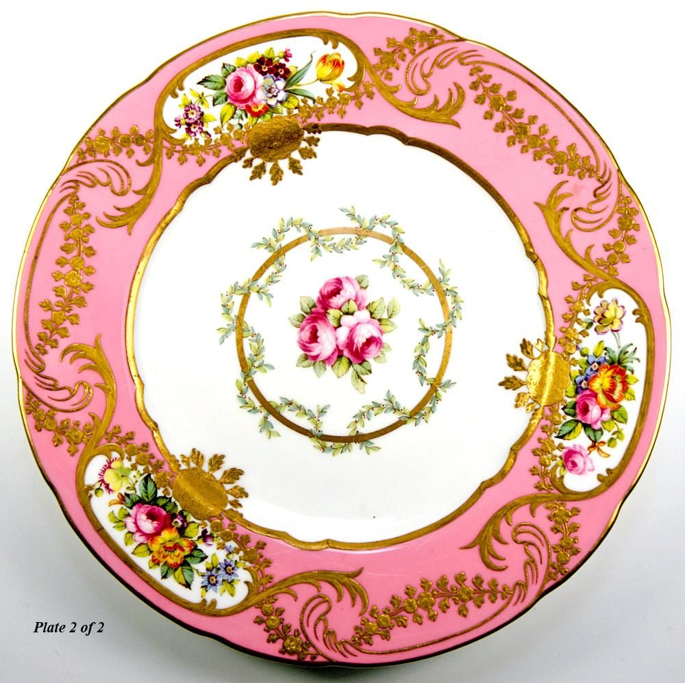 2 antique spode copeland painted plate pink encrusted gold from antiques uncommon