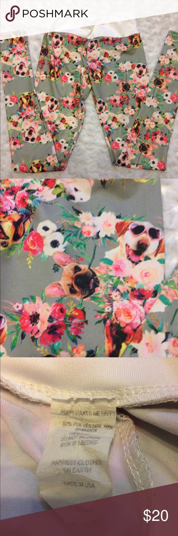 66ea7047fa9 Happiest Clothes on Earth Leggings Happiest Clothes on Earth-Puppies Make  Me Happy! Super