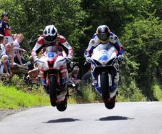 William Dunlop and Guy Martin getting air.