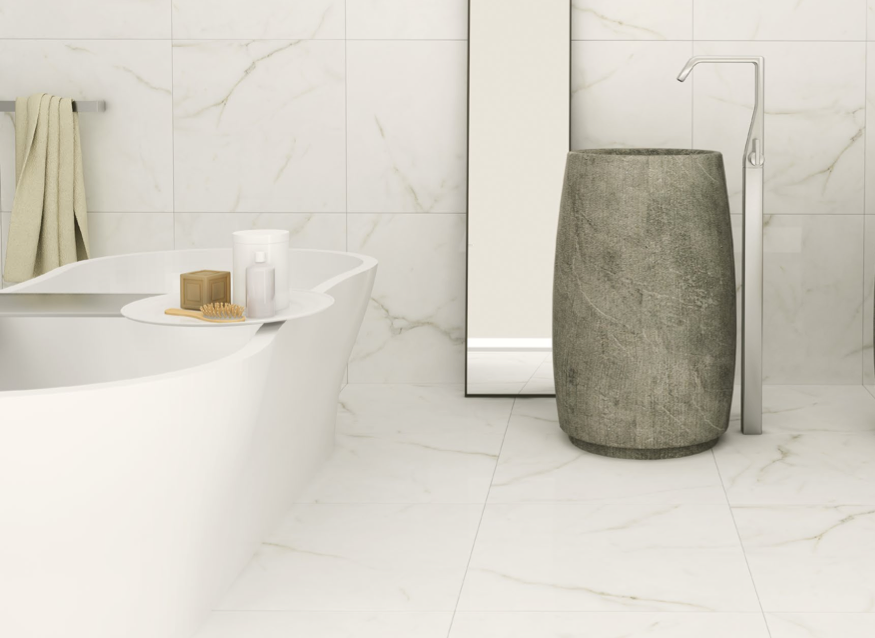 Create a stunning luxurious bathroom with these white marble effect create a stunning luxurious bathroom with these white marble effect porcelain tiles or a beautiful ppazfo
