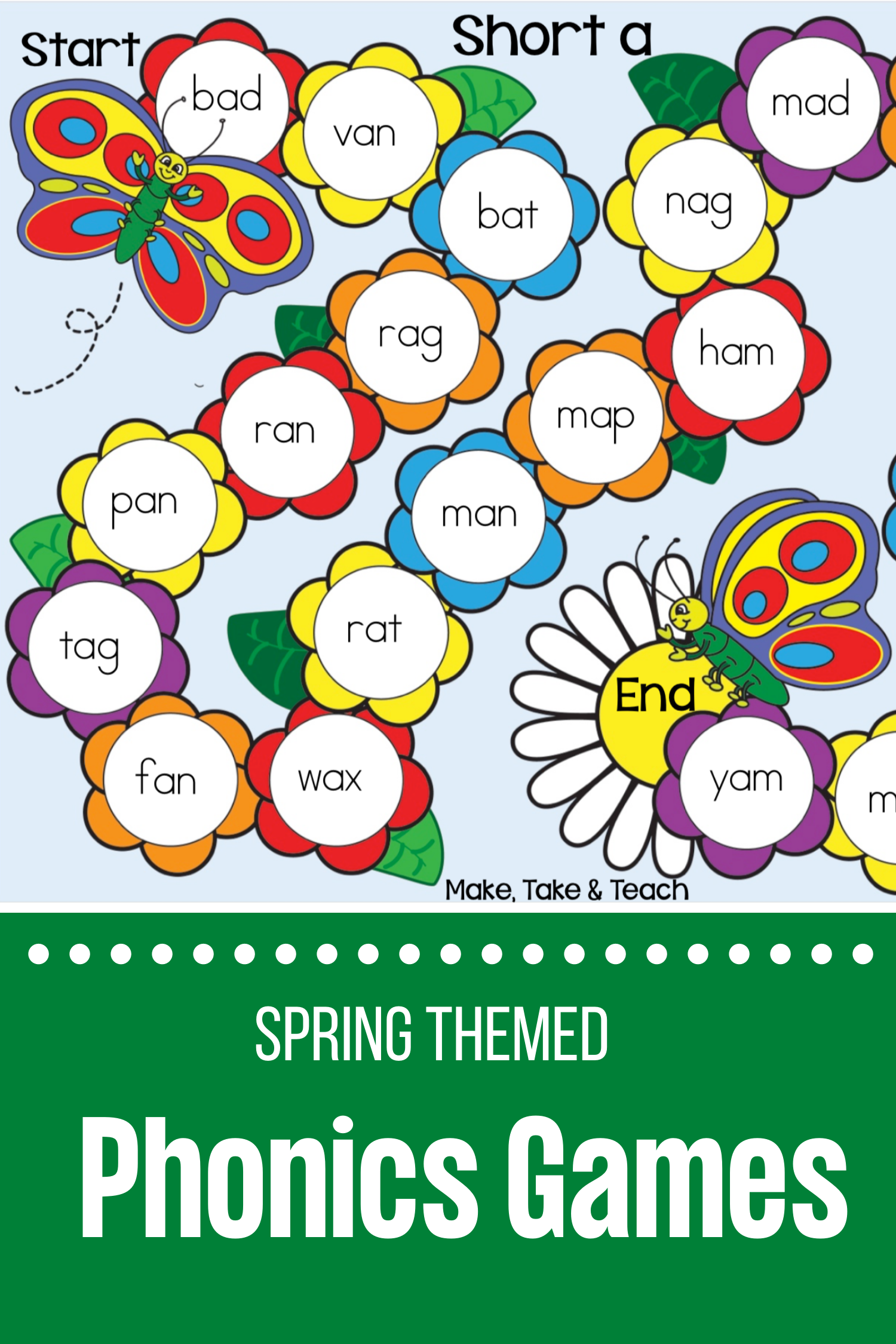 Spring Themed Sight Word And Phonics Game Boards