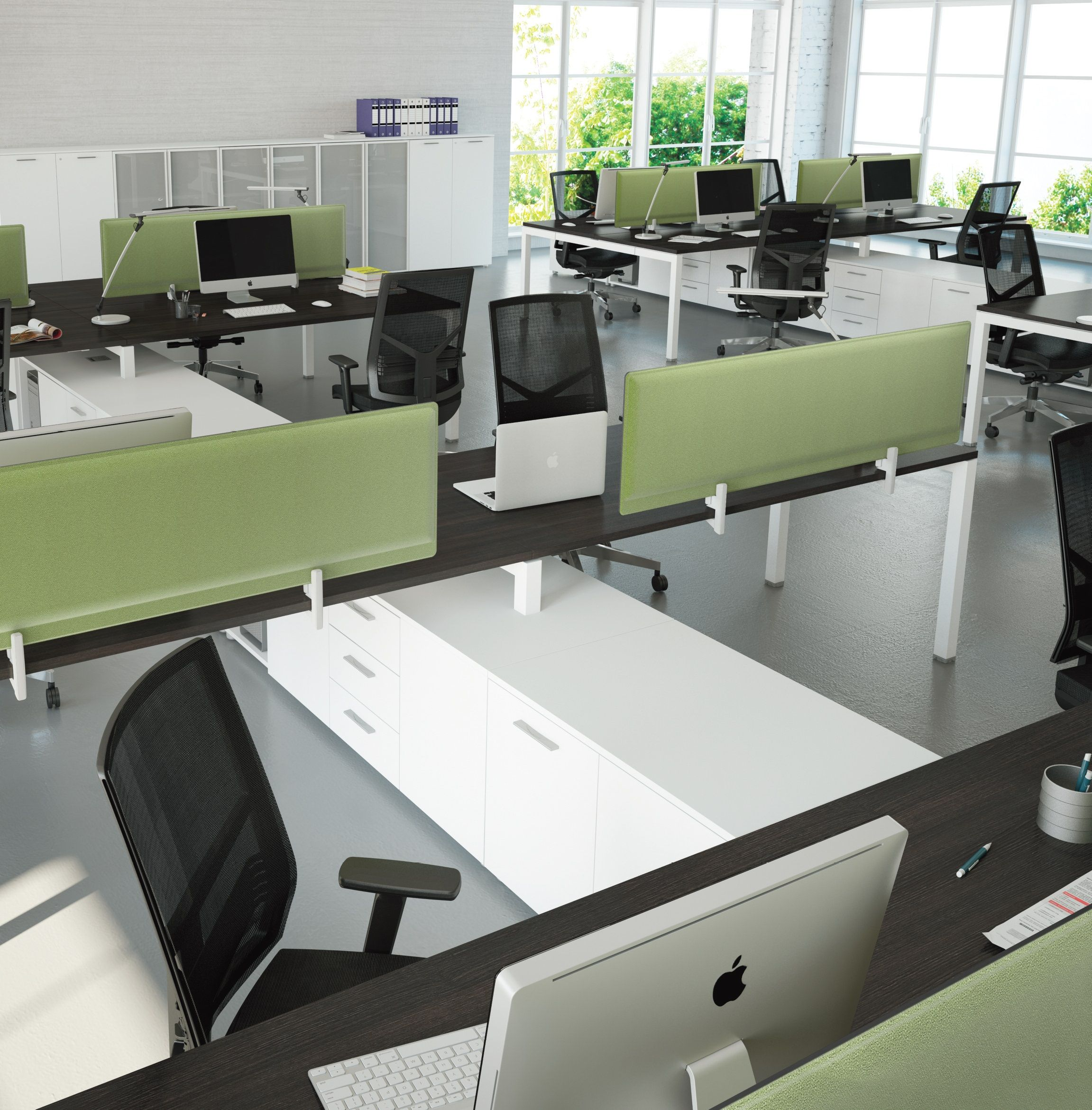 office desk tops. CUBE Linear Workstations With Acoustic Screens And Underdesk Storage. Walnut Desk Tops White Legs Office