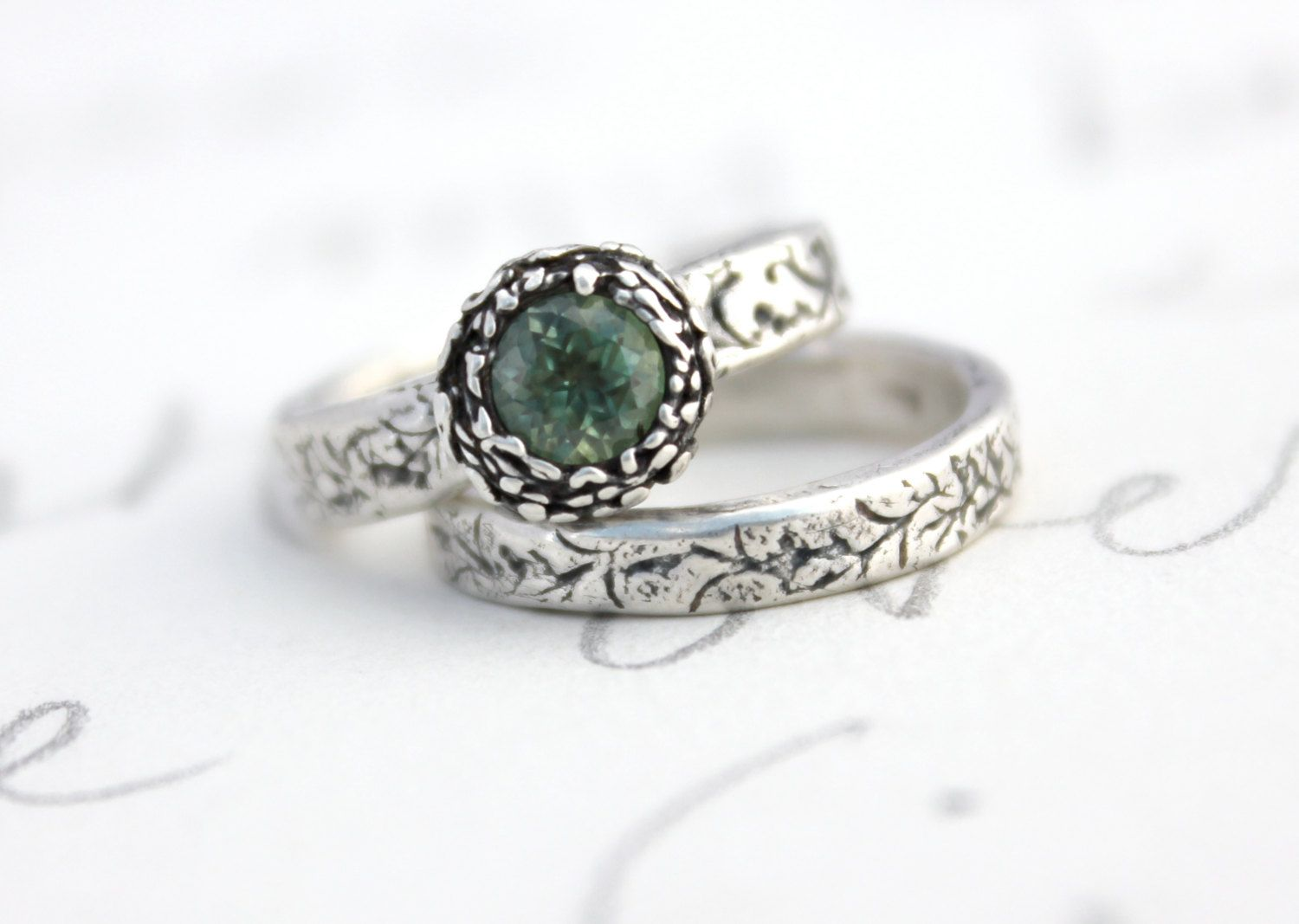 Green Shire Engagement Ring Wedding Band Set Fair Trade Montana Recycled Silver