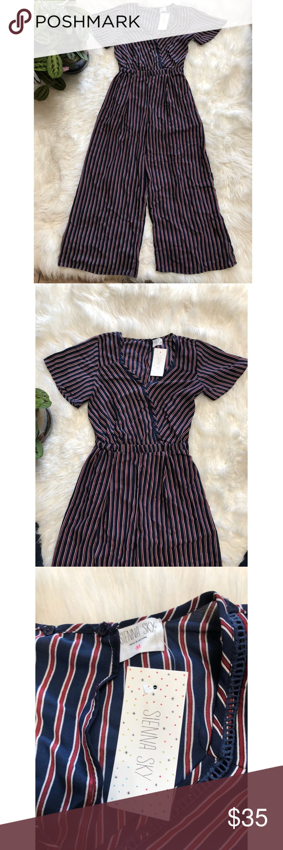 """c94a440e6439 Sienna Sky Jumpsuit Striped culotte style jumpsuit 52"""" from shoulder to hem  100% Polyester Lined Burgundy and navy blue stripes Sienna Sky Pants  Jumpsuits   ..."""