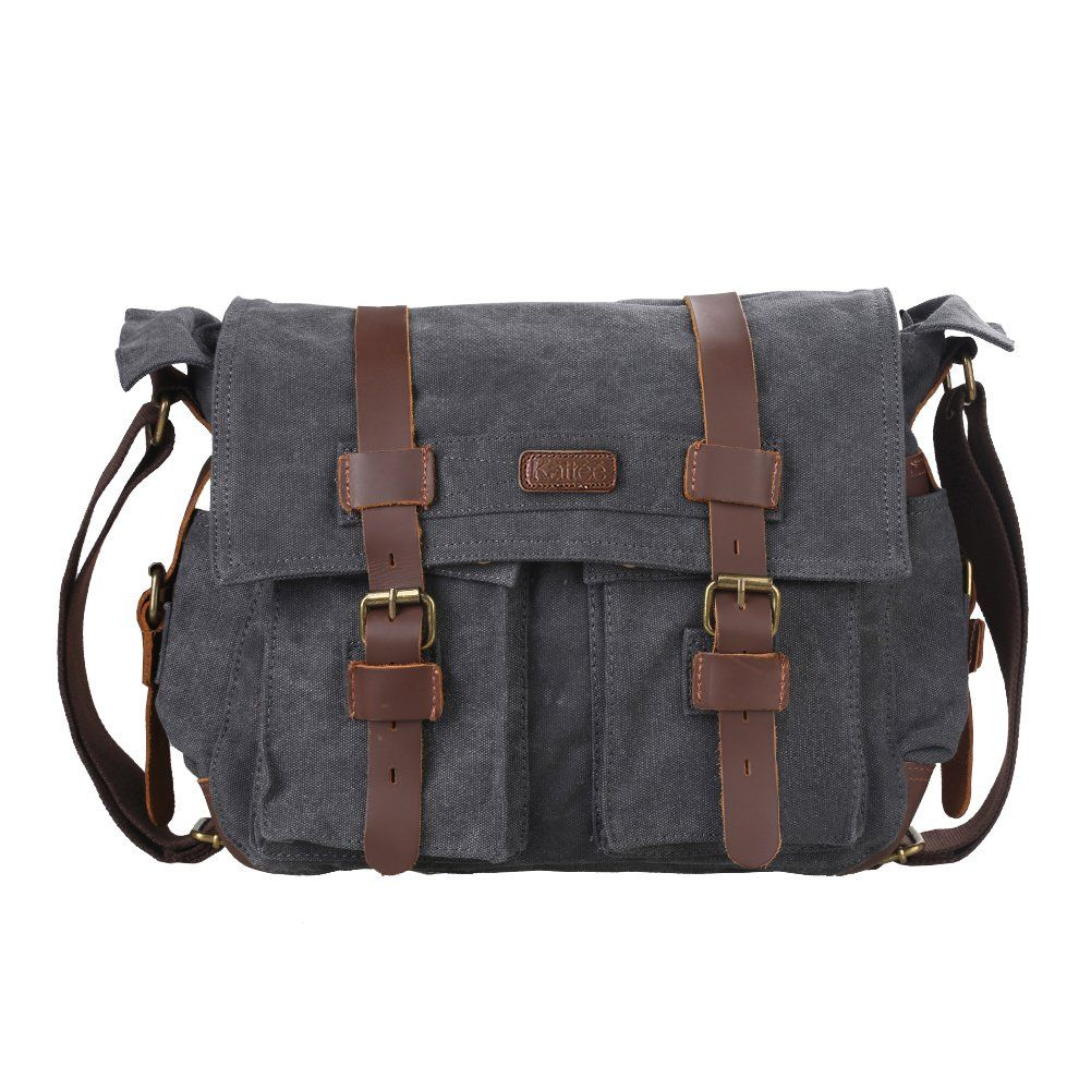 fe99df228afa Amazon.com  Kattee Classic Military Canvas Shoulder Messenger Bag Leather  Straps Fit 16 inch laptop (Army Green)  Clothing