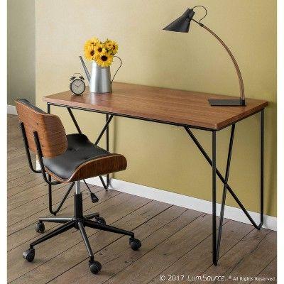 Lumisource Loft Mid Century Modern Office Desk Black/Walnut ...