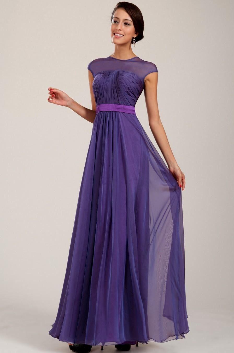 Elegant Purple Bridesmaid Dresses with Sleeves   CherryMarry ...