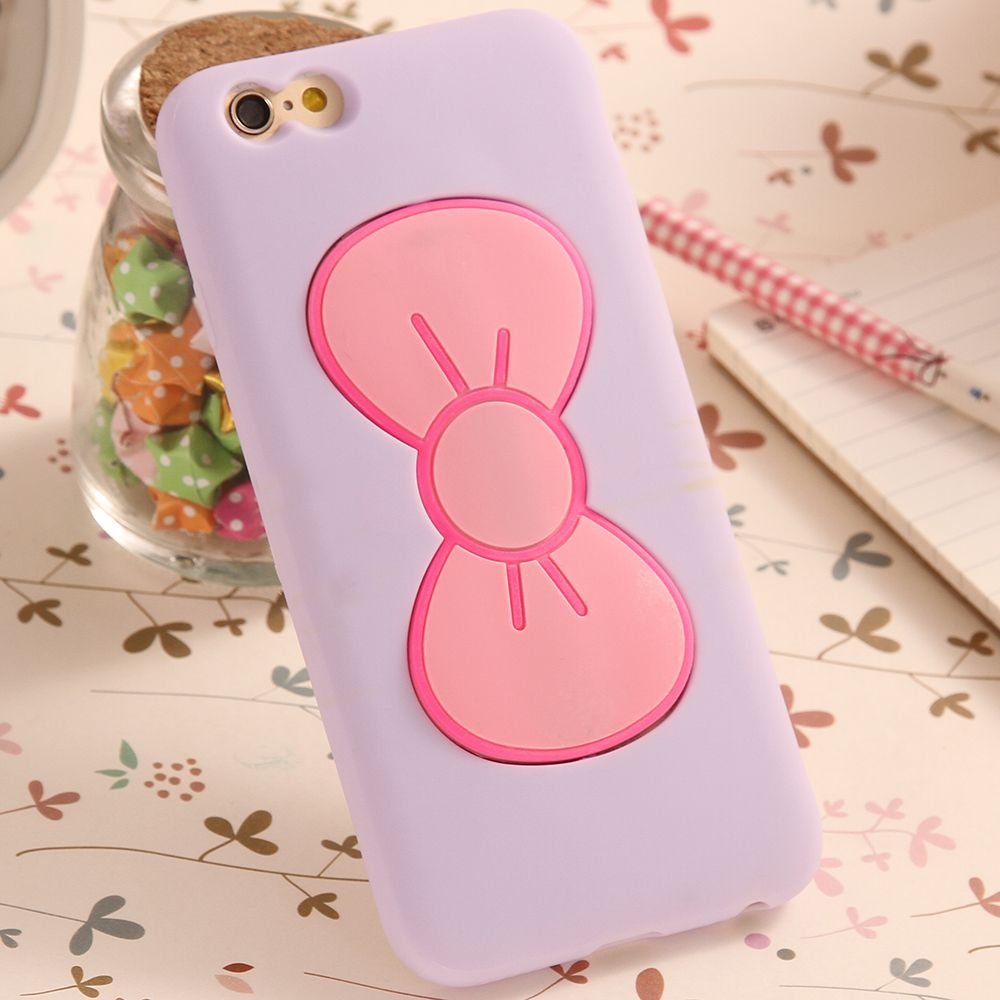 Candy Color Lovely 3D Butterfly Bow Soft TPU Silicon Case For iPhone 6 Plus 5.5 inch Slim Stand Holder Back Cover For iPhone6+ for Juanita and benita