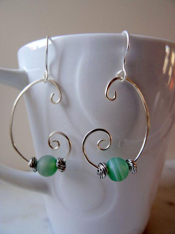Hand forged scroll earrings, silver plated with green Agate detail, green boho jewellery, elvish gemstone earrings,  Handmade by CalicoRoseStudio in the UK £10.95