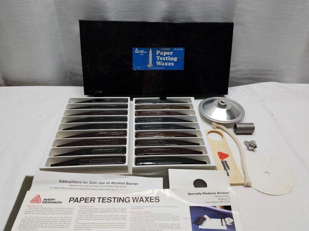 Avery Dennison Standard Paper Testing Waxes Kit 39 330 New Unused Alcohol Burner Avery