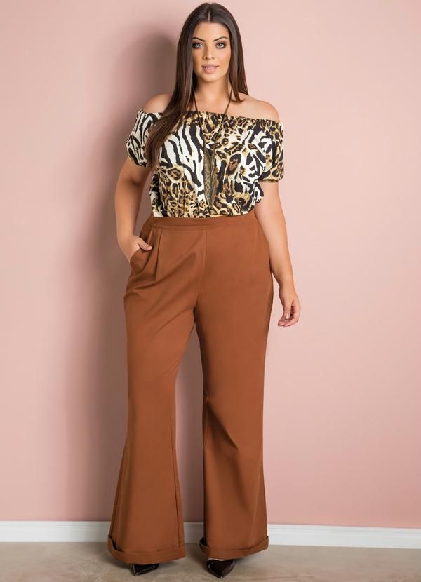 bafc34fad3 Blusa Ciganinha (Animal Print) Plus Size