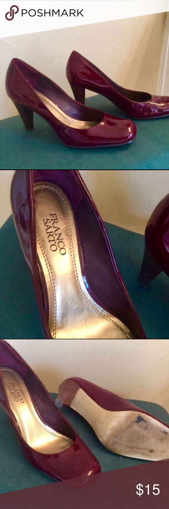 Franco Sarto pumps Franco Sarto Cranberry Patent Leather Pumps size 8. Great condition and worn just a couple times by an actress on set. I'm a professional makeup artist and wardrobe stylist for tv and film. I'm clearing out my prop closets at a savings to you. Franco Sarto Shoes Heels