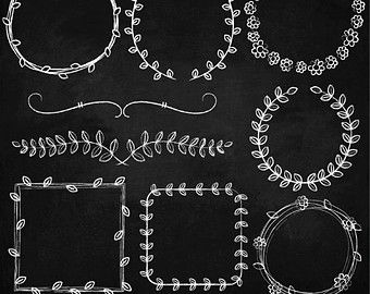 Hand drawn chalk clipart great for creating printables, wedding invitation, digital scrapbooking, handmade business card