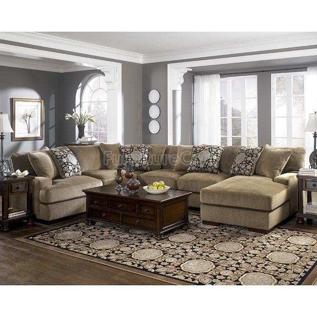 Detailing In The Corners Of Entry Gray Walls Tan Couch Didn T Think It Would Work But I Like Grenada Mocha Large Sectional Living Room Set
