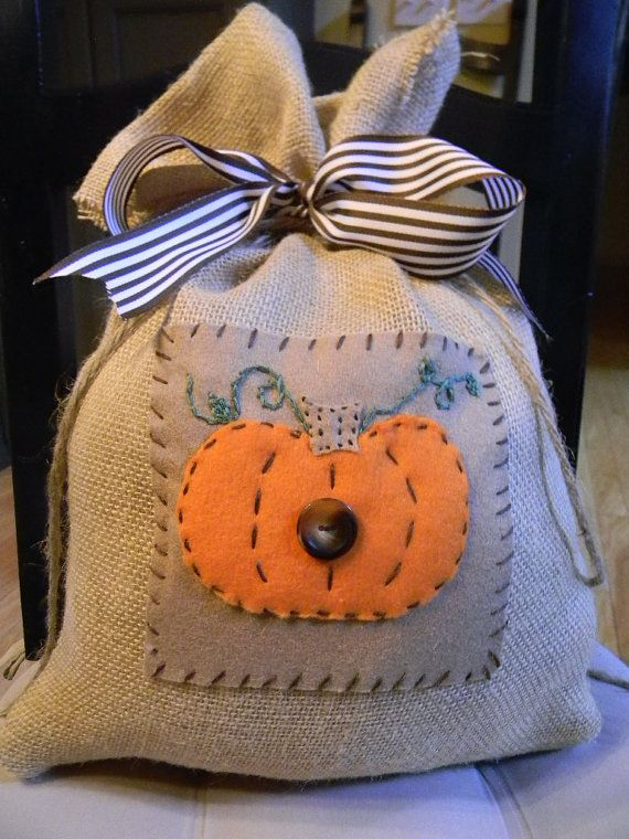 Burlap Feed Sack Pumkin PillowOrange by SugarAndSpiceHome on Etsy, $15.00