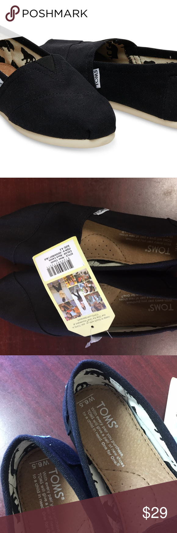 990f5dad40b NWT TOMS Women s Classic Canvas slip-on 104 Major Department Store Brand.  100%