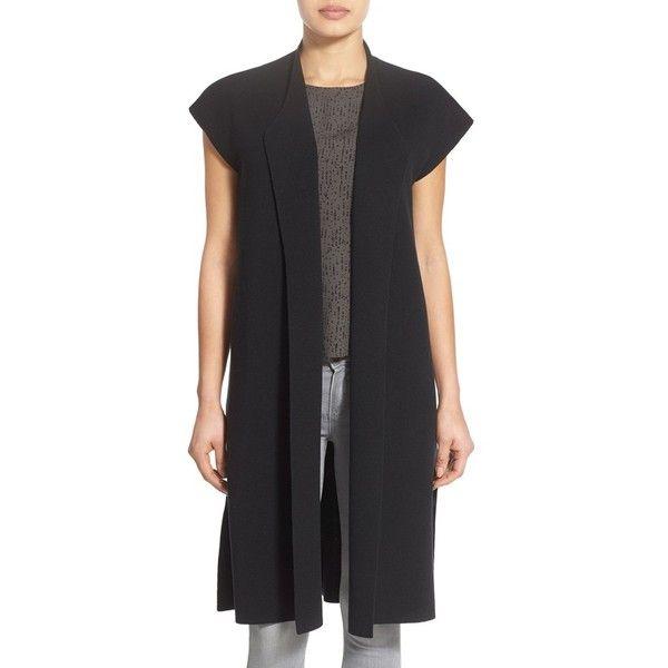 Eileen Fisher Silk & Organic Cotton Knit Drape Front Long Vest ($398 ...