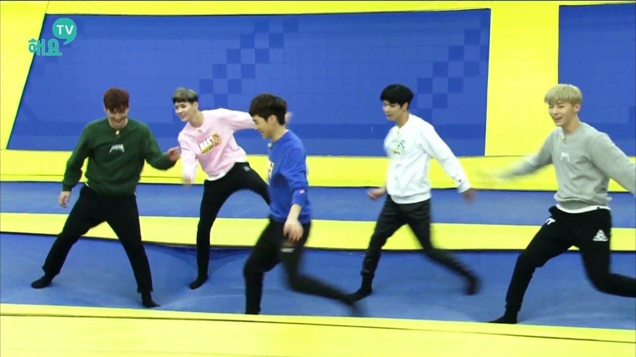 [뉴이스트 - NUEST] 트램펄린 위에서 펼쳐지는 'Love Paint' 2배속 댄스 @해요TV